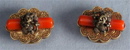 Edwardian 14K Gold and Coral Cufflinks