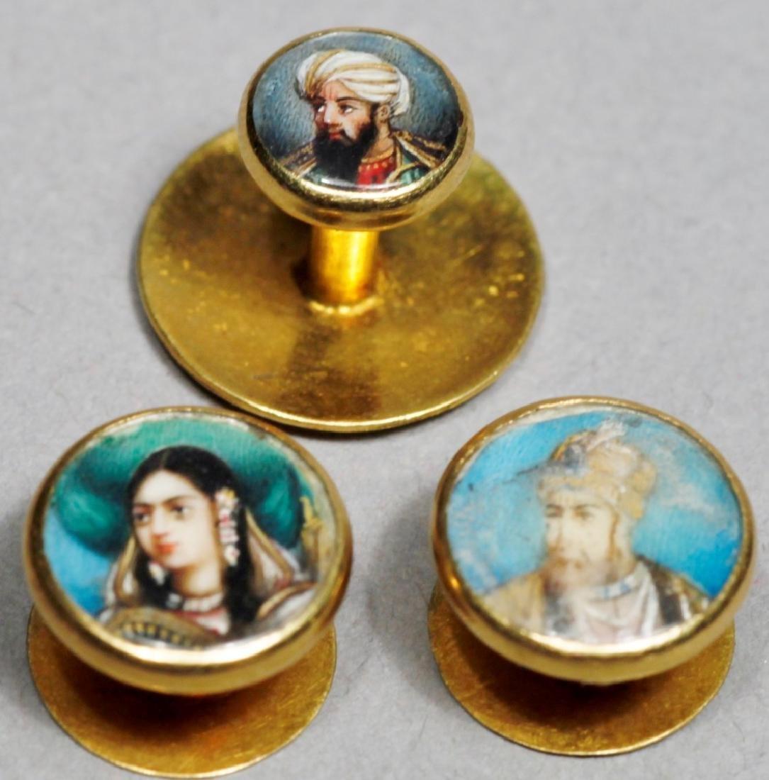 Antique 14K Portrait Miniature Button Studs