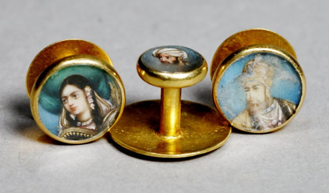 Antique 14K Portrait Miniature Button Studs - 2