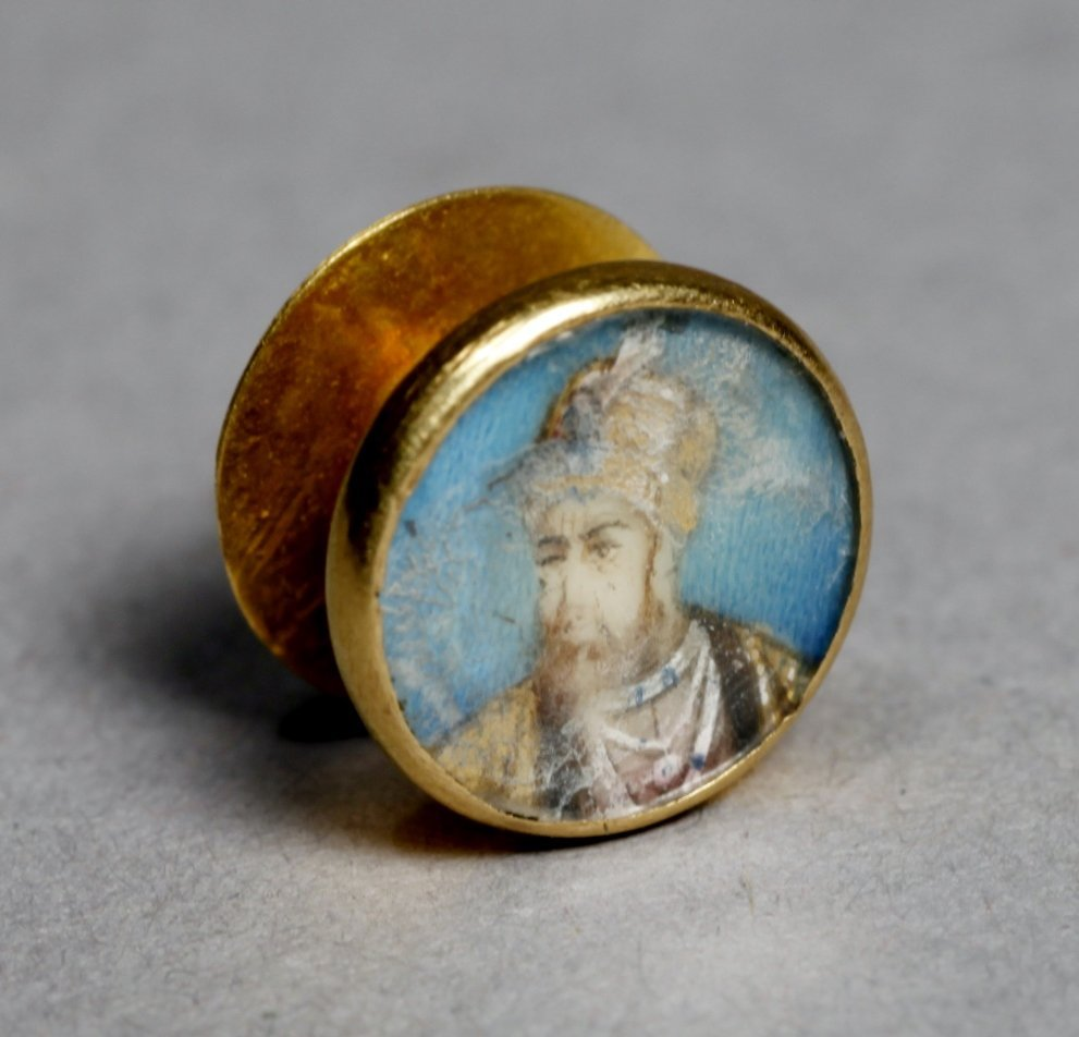Antique 14K Portrait Miniature Button Studs - 4
