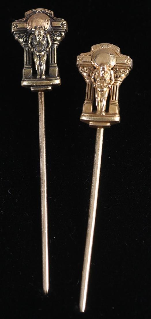 c1920 14K Atlas Stick Pins by MK&S