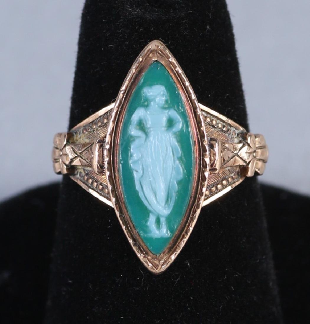 Antique 14K Green Cameo Ring Victorian