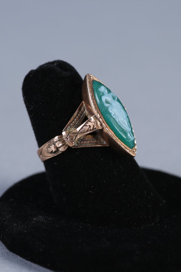 Antique 14K Green Cameo Ring Victorian - 2