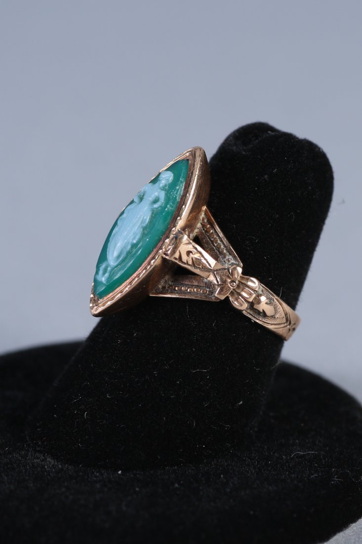 Antique 14K Green Cameo Ring Victorian - 3