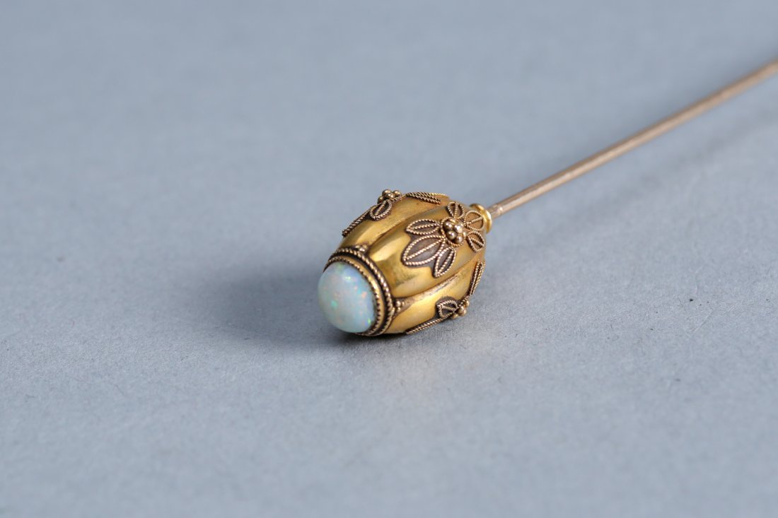 Antique 14k Gold and Opal Hat Pin - 2