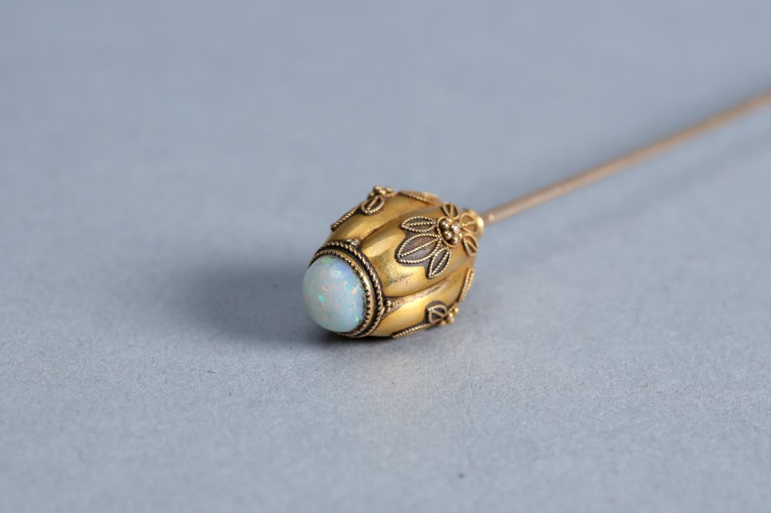 Antique 14k Gold and Opal Hat Pin - 3