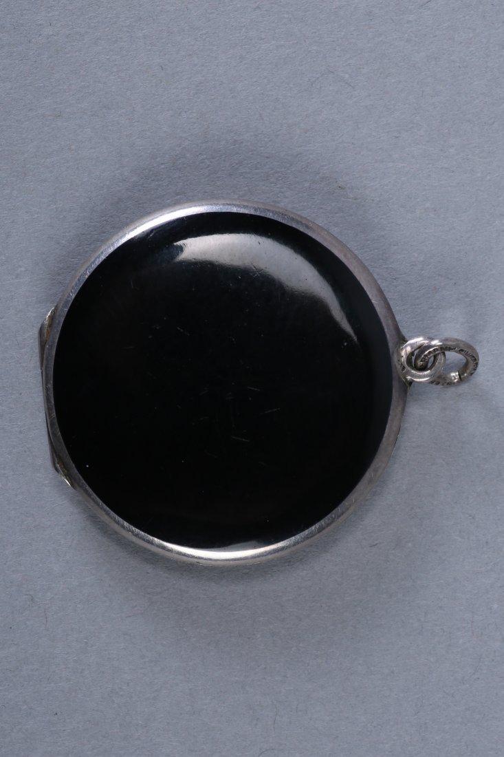 Antique German Sterling Black Enamel Locket - 2