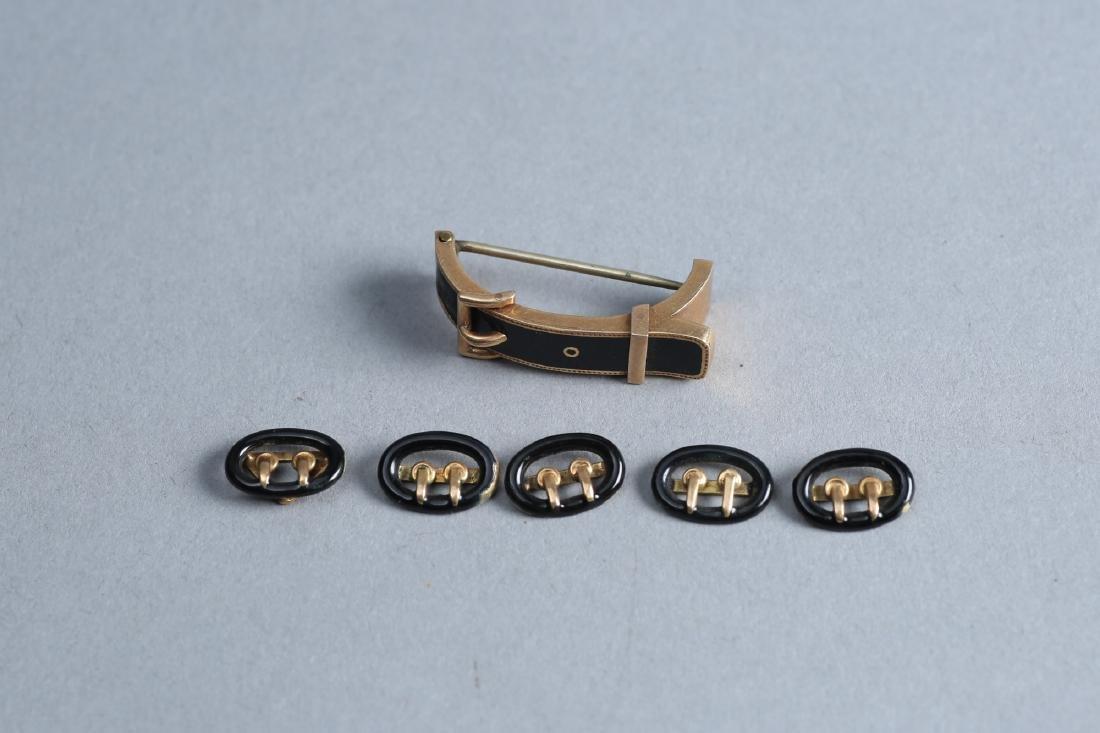 Victorain Enamel & 14k Gold Buckle Brooch Lot