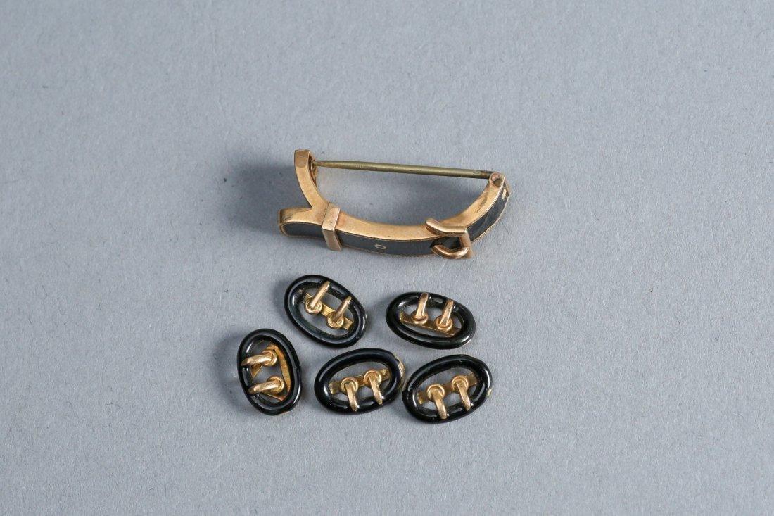 Victorain Enamel & 14k Gold Buckle Brooch Lot - 3