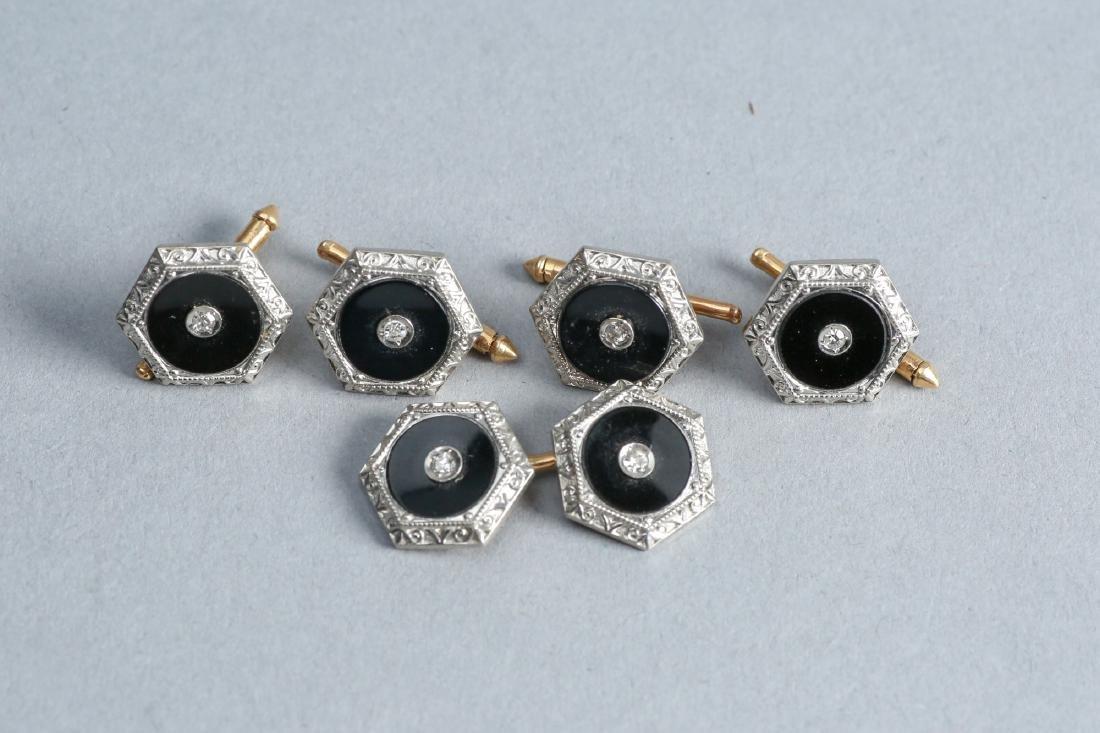 Art Deco 14k Gold & Diamond Buttons & Cuff links