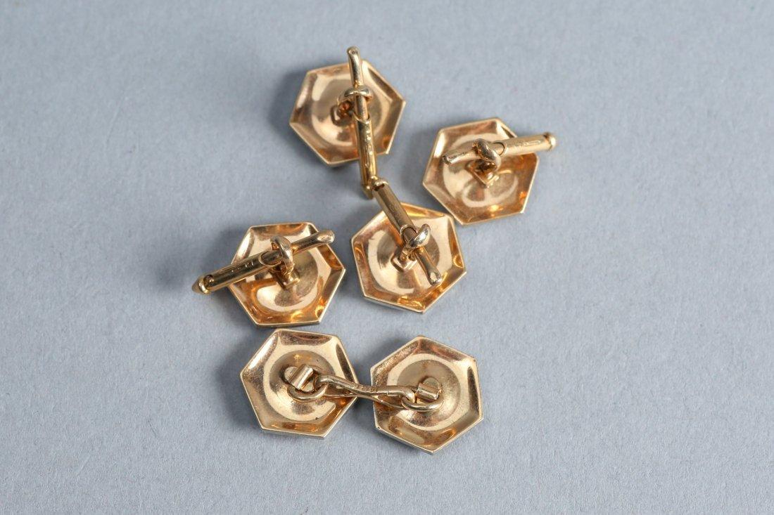 Art Deco 14k Gold & Diamond Buttons & Cuff links - 2