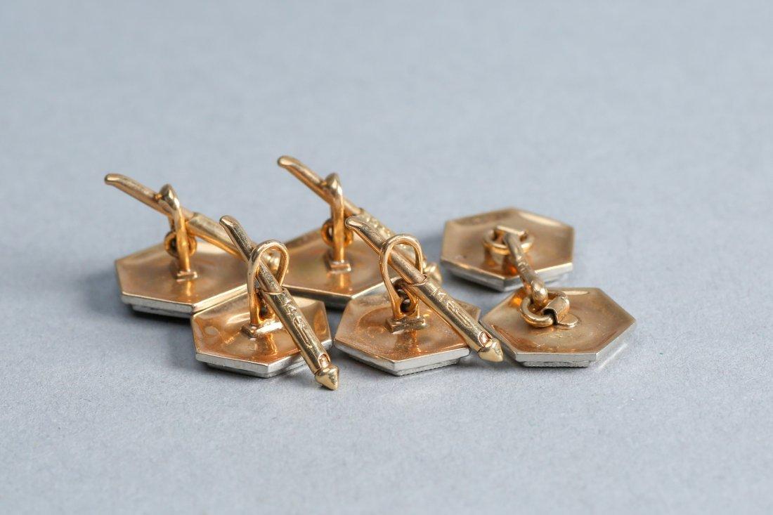 Art Deco 14k Gold & Diamond Buttons & Cuff links - 3
