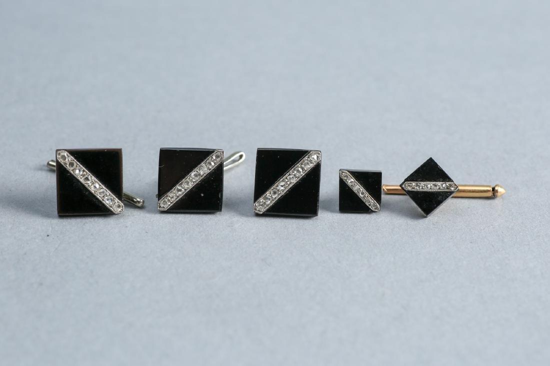 Art Deco Diamond, Onyx, 14K Gold Cufflinks, Tie Tack