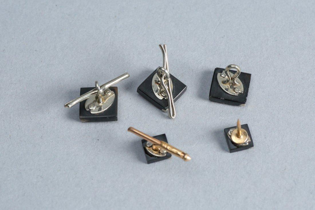 Art Deco Diamond, Onyx, 14K Gold Cufflinks, Tie Tack - 2