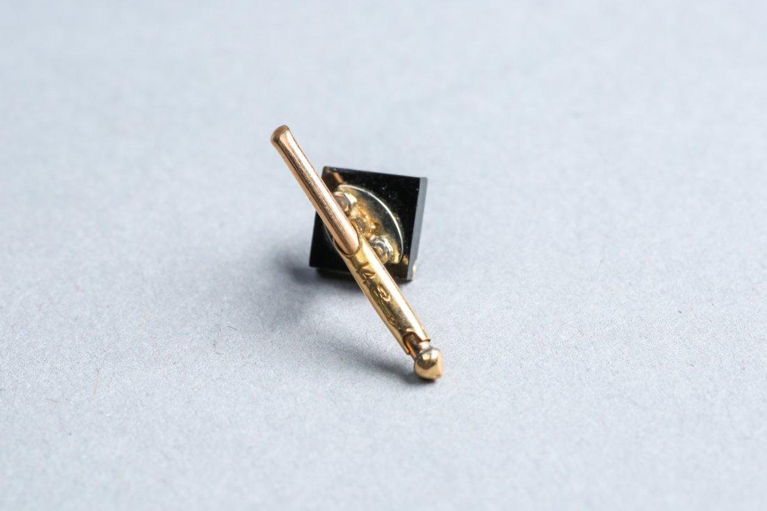 Art Deco Diamond, Onyx, 14K Gold Cufflinks, Tie Tack - 3