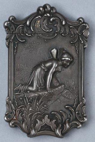 c1890 Sterling Vesta Case, Fairy Motif
