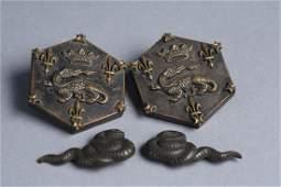 Mid 19th C Japanese Bronze Menuki Dragon Buttons