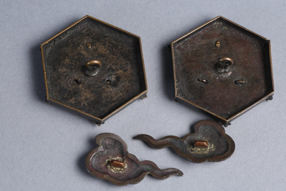 Mid 19th C Japanese Bronze Menuki, Dragon Buttons - 3