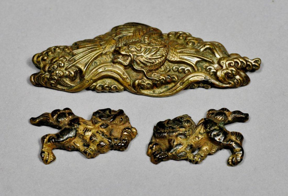 Japanese shishi Dog and Dragon Menuki