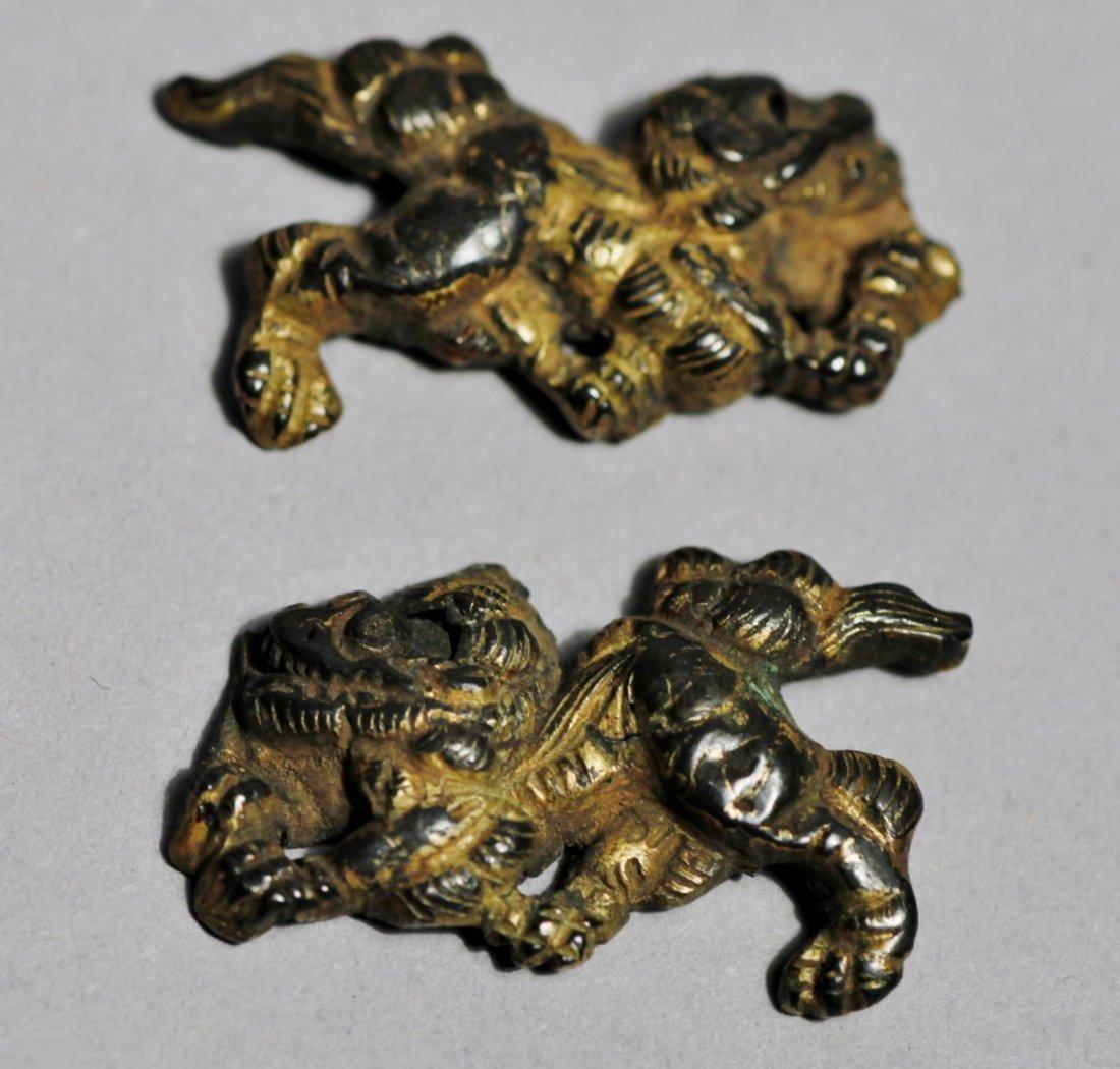 Japanese shishi Dog and Dragon Menuki - 4