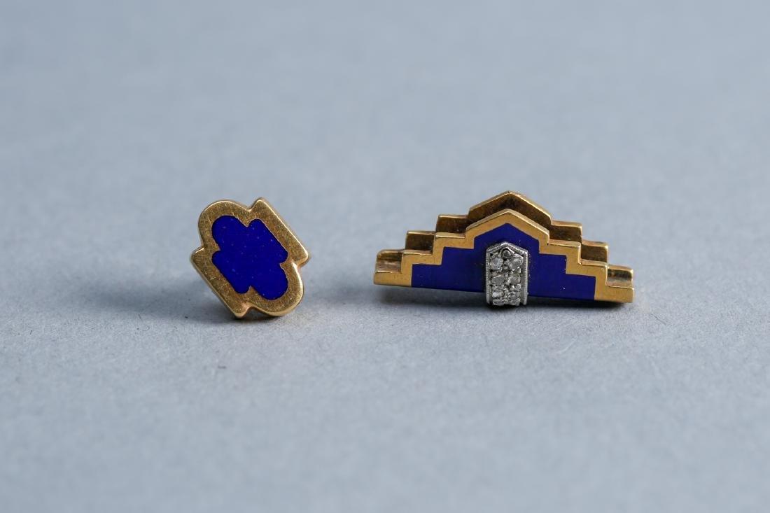 Art Deco 18k Gold, Diamond, Enamel Tie Tack & Accessory