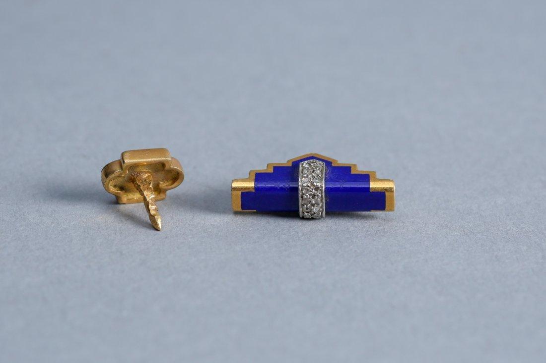 Art Deco 18k Gold, Diamond, Enamel Tie Tack & Accessory - 3