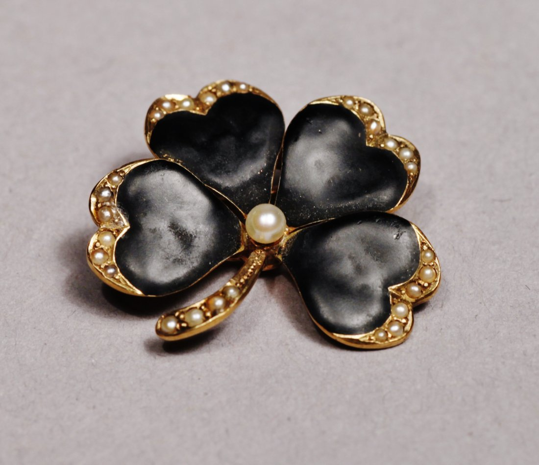 Victorian 14 K Gold, Seed Pearl, and Enamel 4 leaf