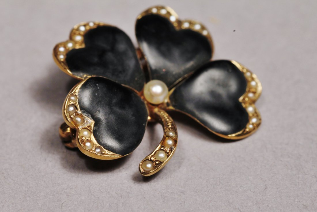 Victorian 14 K Gold, Seed Pearl, and Enamel 4 leaf - 2