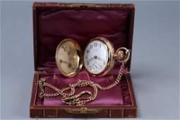 Waltham 1910 14k Gold 18s Hunter Pocket Watch 14K Chain