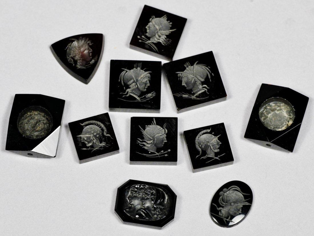 Antique Set of Black Carved Intaglios