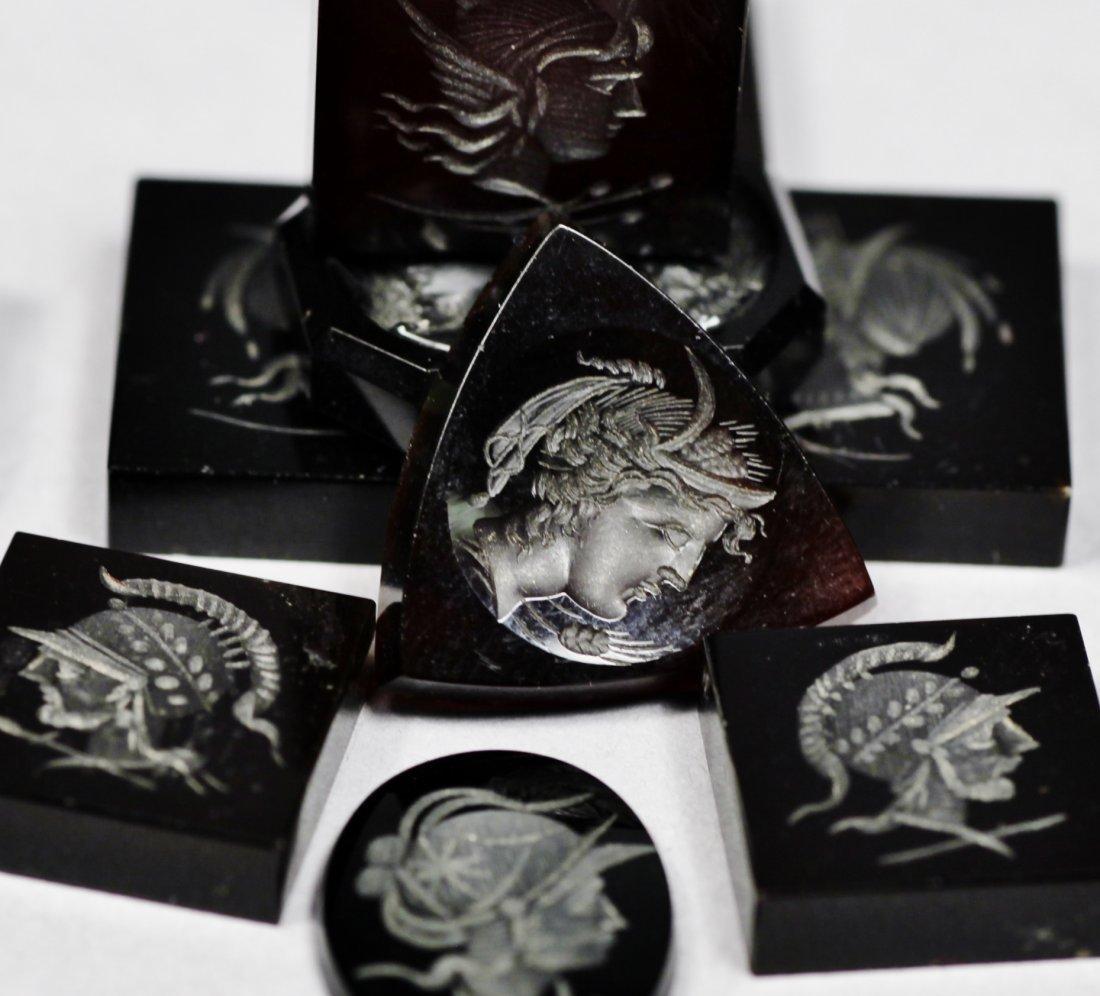 Antique Set of Black Carved Intaglios - 3