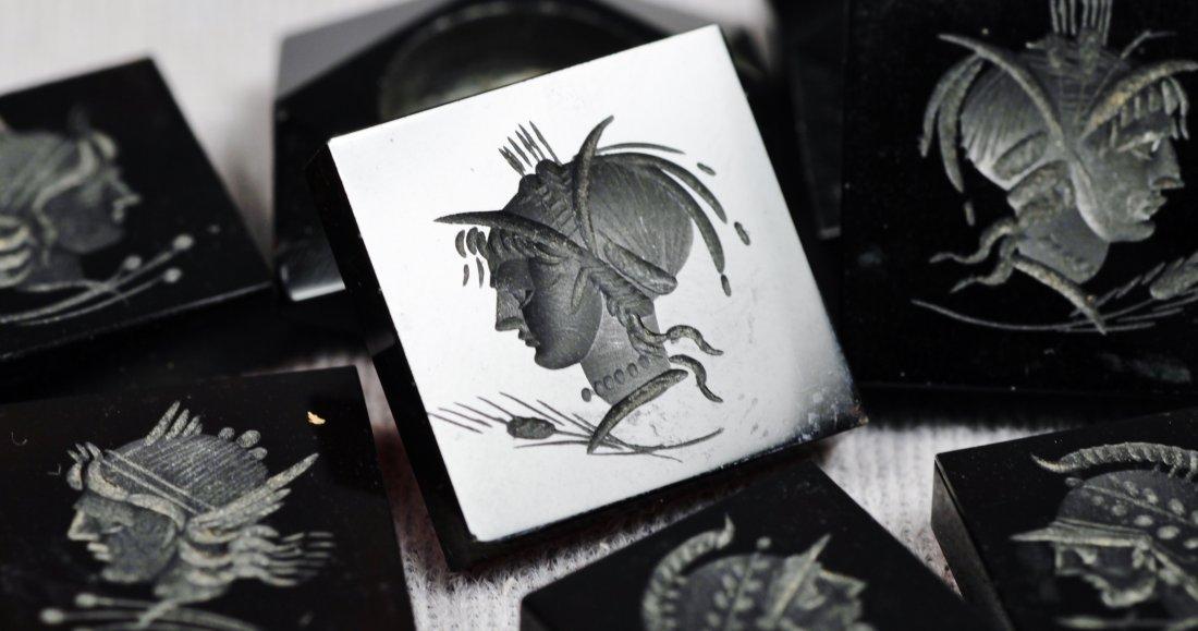 Antique Set of Black Carved Intaglios - 4