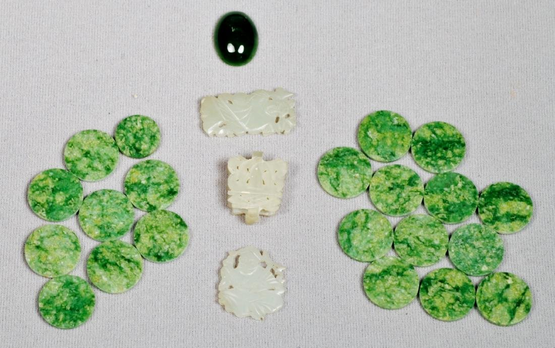 Vintage Lot of Jade Stones, Some Carved