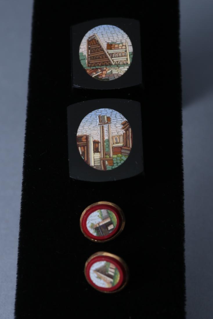 Antique Micro Mosaic 10k Cufflink Button Lot