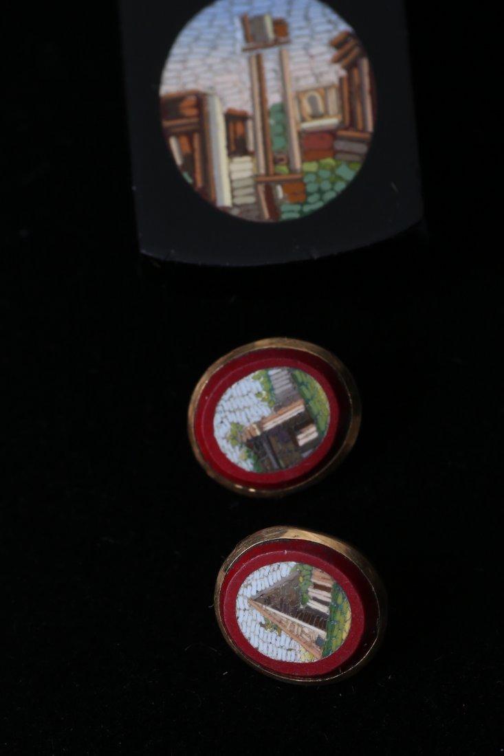Antique Micro Mosaic 10k Cufflink Button Lot - 2
