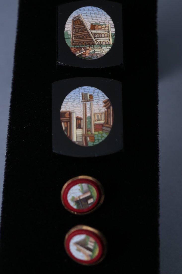 Antique Micro Mosaic 10k Cufflink Button Lot - 3