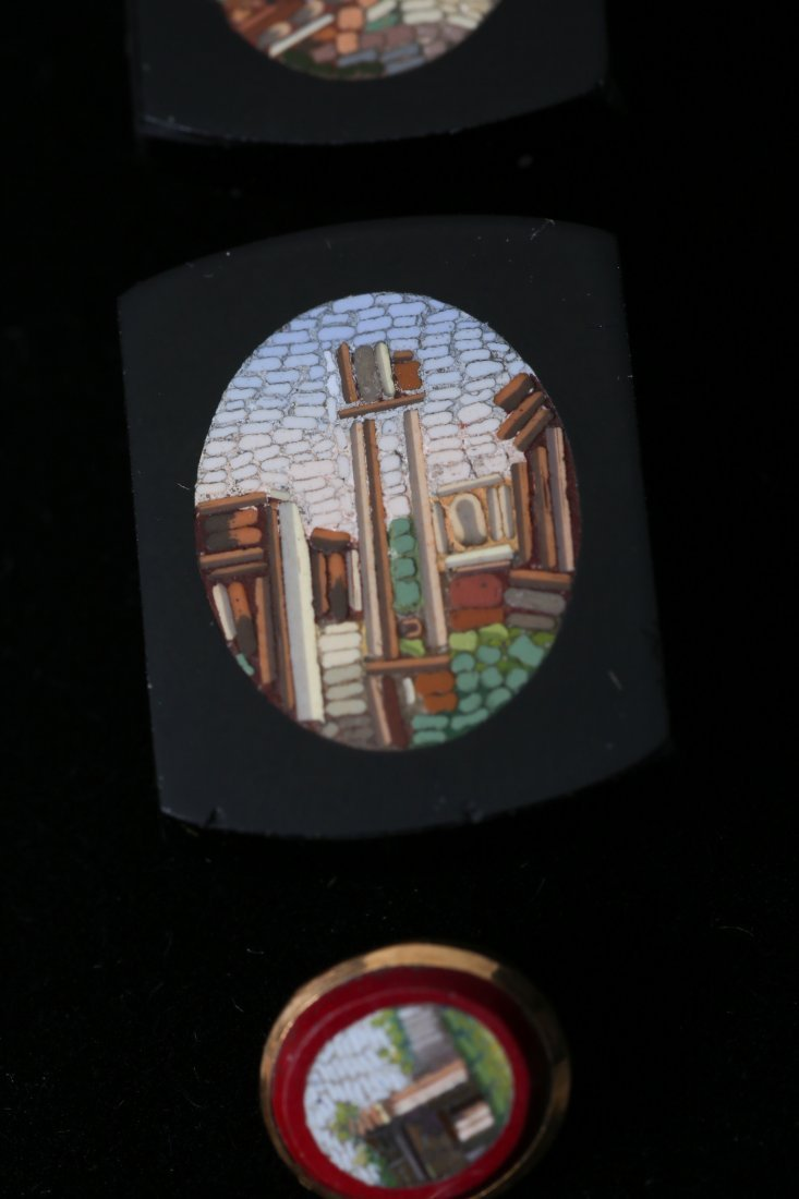 Antique Micro Mosaic 10k Cufflink Button Lot - 4
