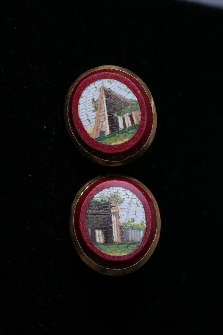 Antique Micro Mosaic 10k Cufflink Button Lot - 6