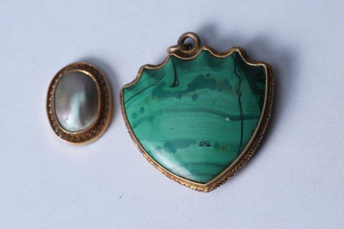 Victorian 3 Piece 14 K Lot Intaglio Pendant, Locket, - 3