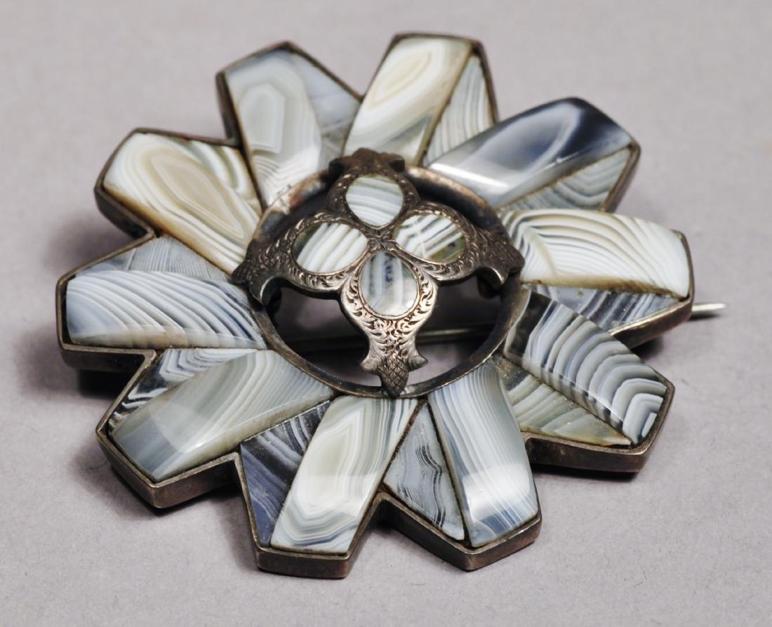 Scottish Agate Brooch  Pendant Sterling Victorian