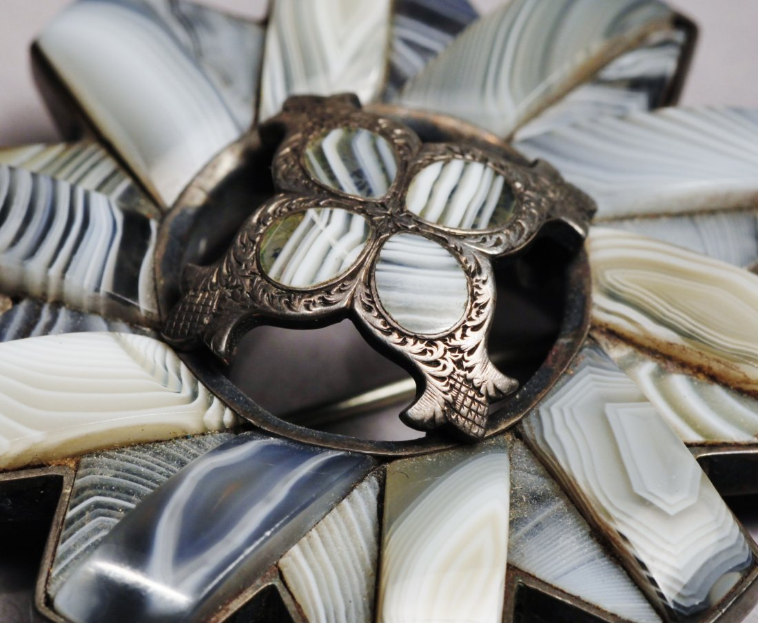 Scottish Agate Brooch  Pendant Sterling Victorian - 4