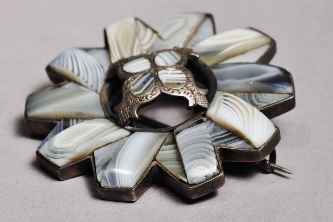 Scottish Agate Brooch  Pendant Sterling Victorian - 7
