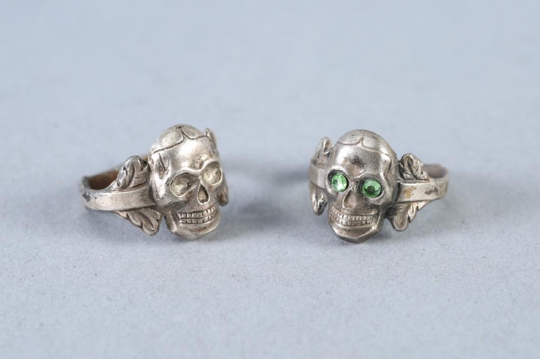 2 Skulls Vintage Designer Sterling Rings