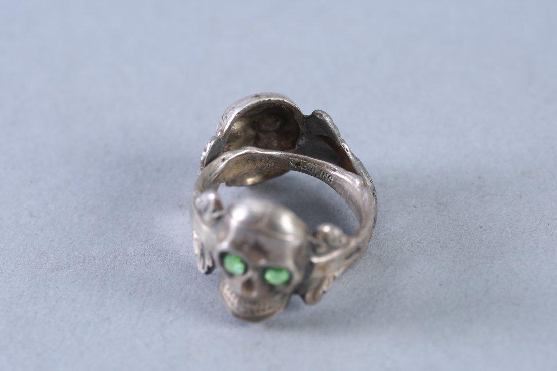 2 Skulls Vintage Designer Sterling Rings - 2
