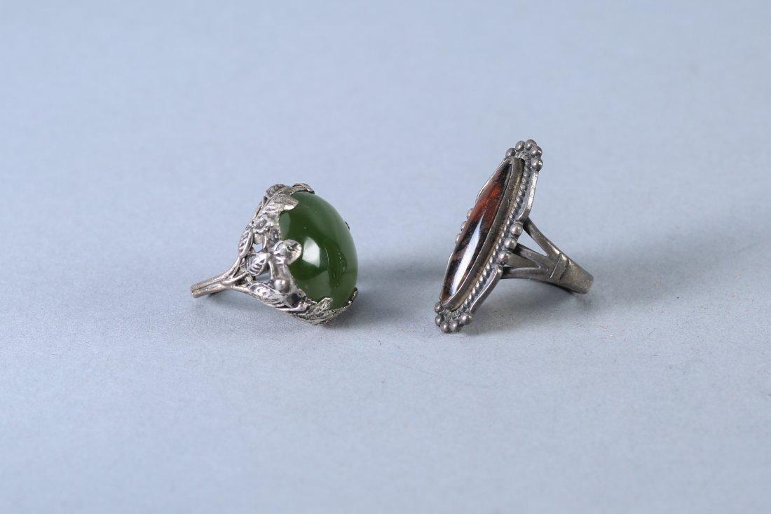2 Stone Rings Vintage Designer Sterling