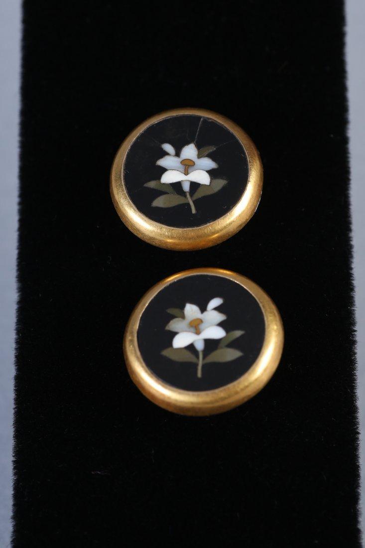 1880 18K Petra Dura Flower Cufflinks - 2
