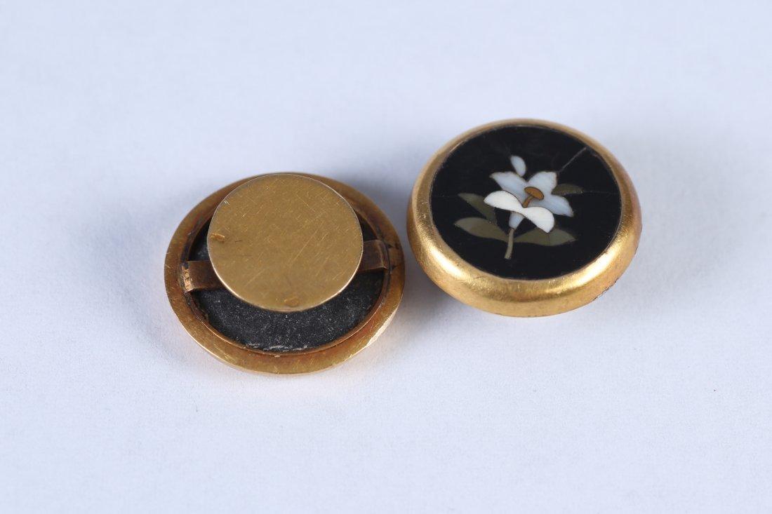 1880 18K Petra Dura Flower Cufflinks - 3