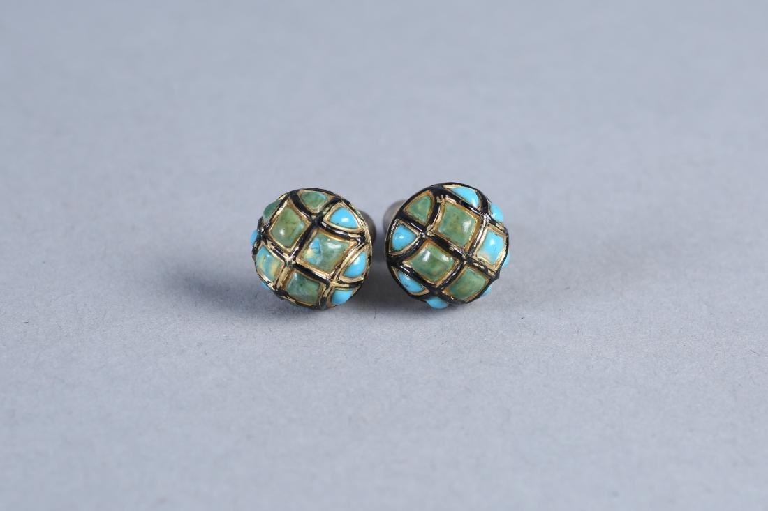 Antique English 15K Turquoise & Enamel Earrings
