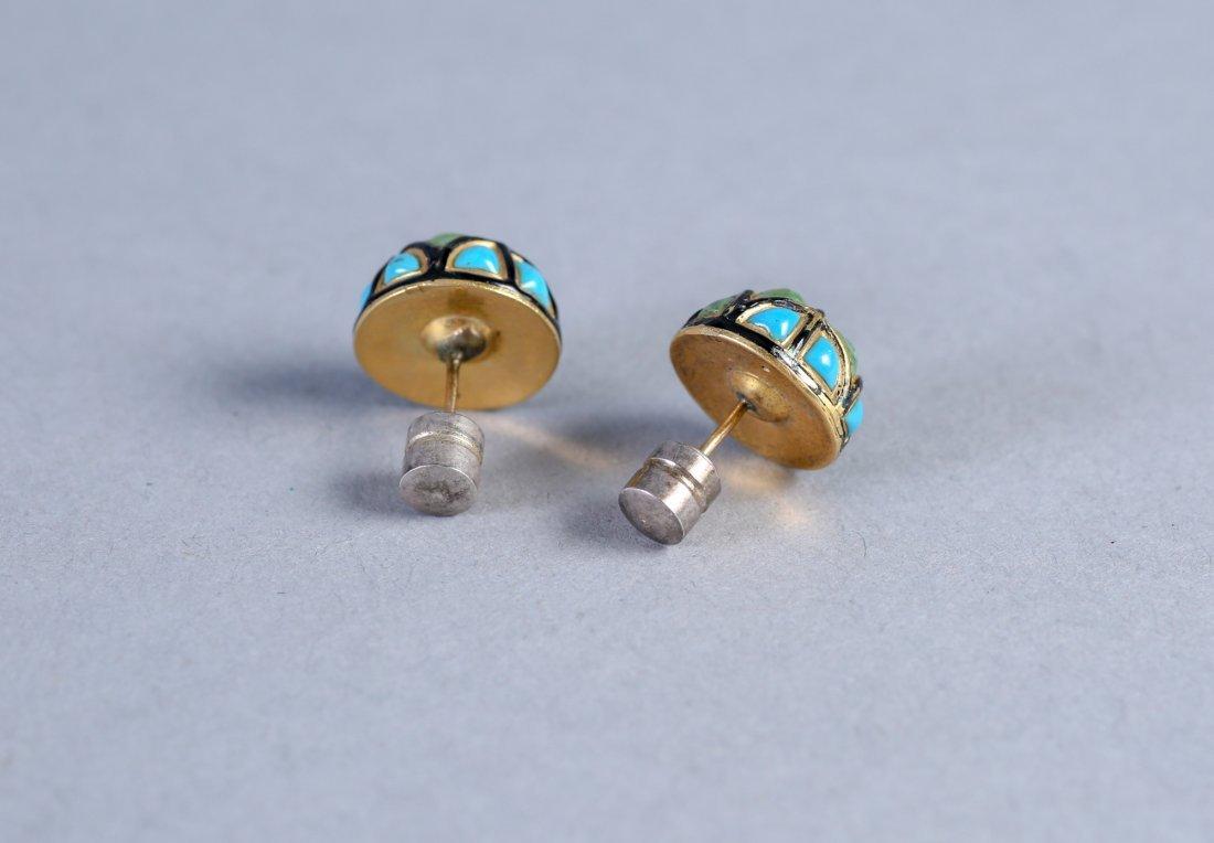 Antique English 15K Turquoise & Enamel Earrings - 2