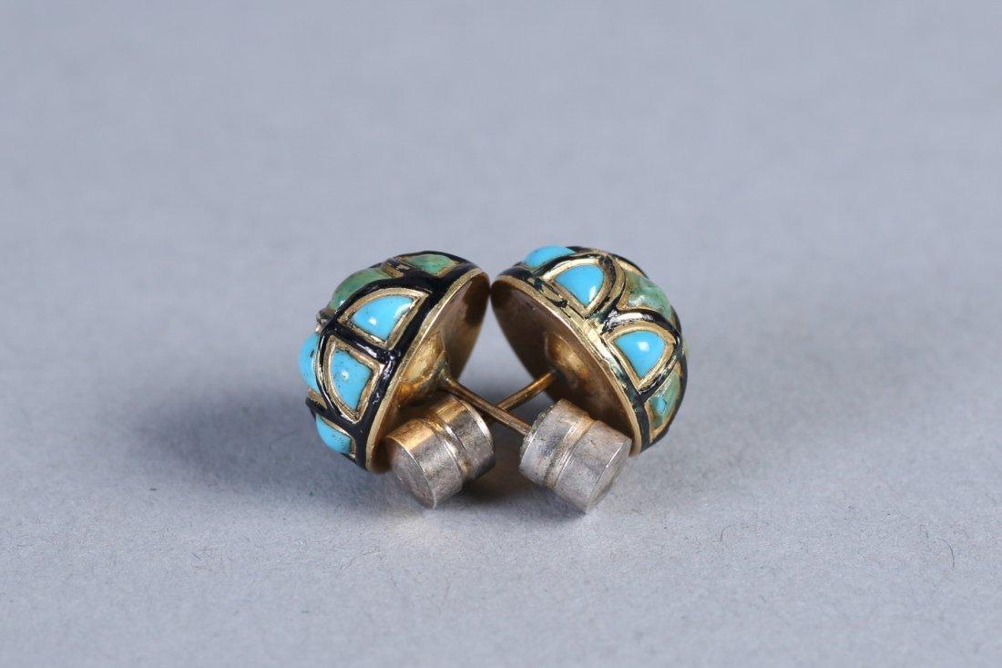 Antique English 15K Turquoise & Enamel Earrings - 3